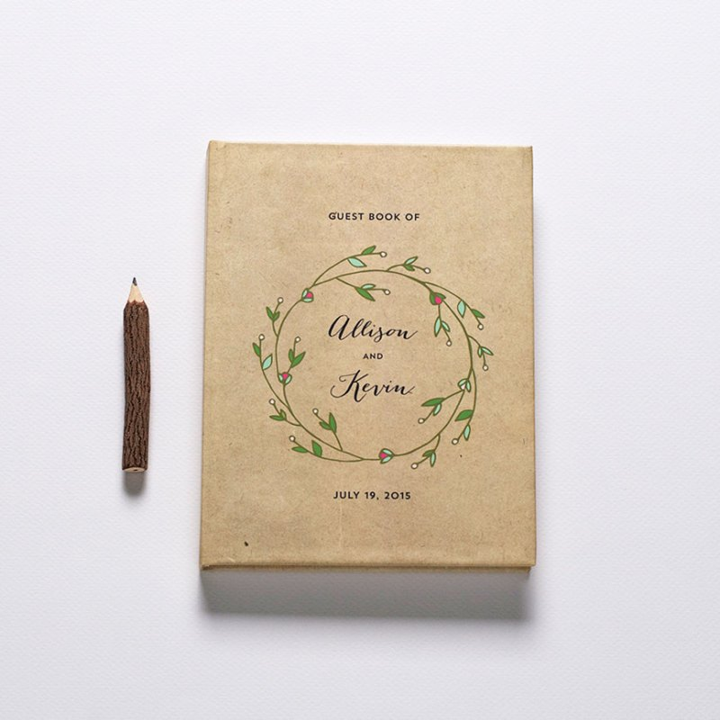 rustic inspired guest book by crafty pie press