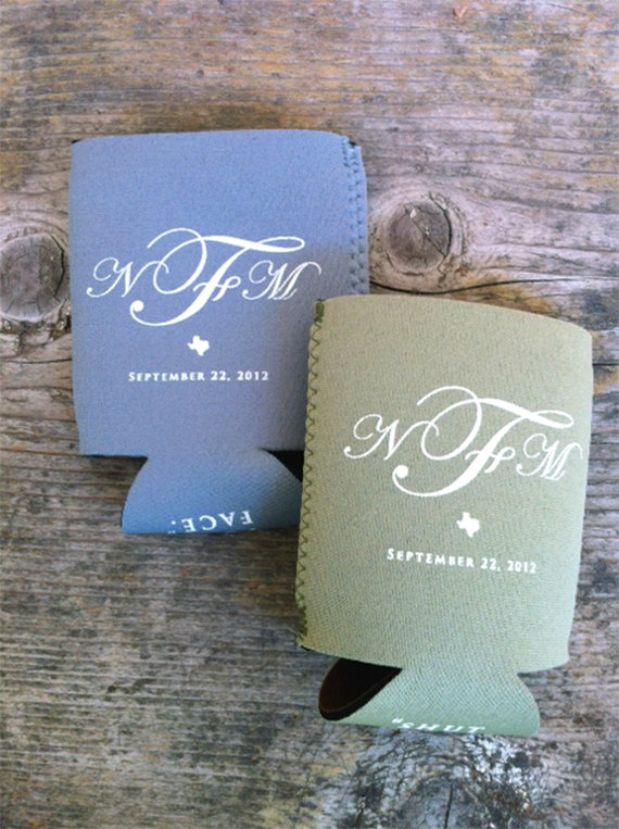 rustic monogram wedding koozies