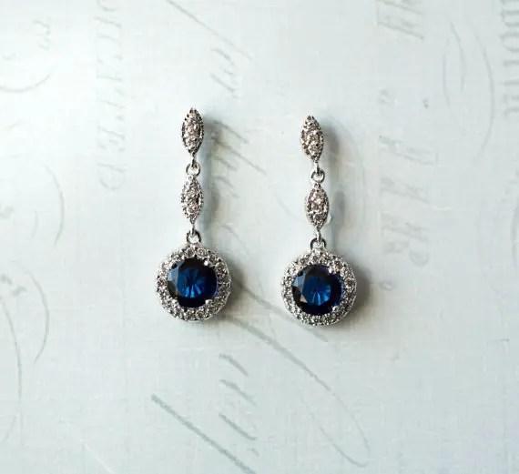 Sapphire crystal drop earrings | vintage bridal earrings | http://emmalinebride.com/bride/vintage-inspired-bridal-earrings