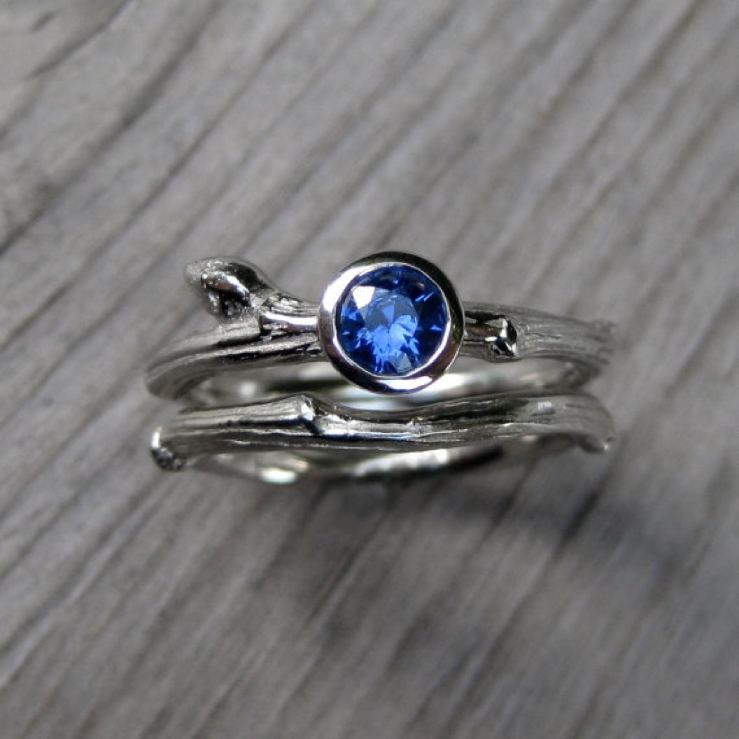 sapphire twig engagement ring