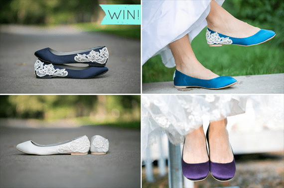 satin wedding flats with lace