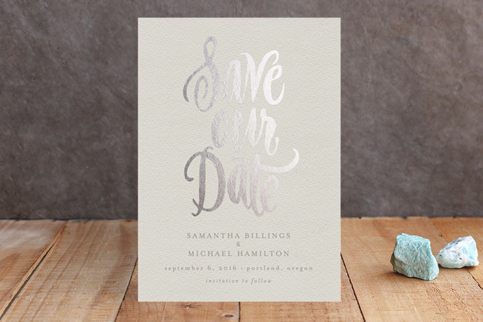 save our date real foil cards | Foil Pressed Save the Date Cards via emmalinebride.com