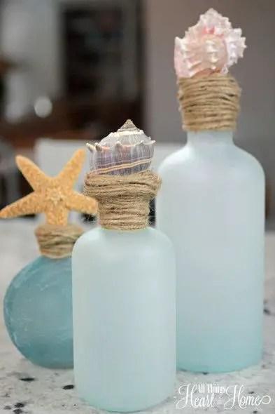 sea glass shell topped bottles