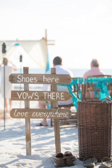 shoes here beach wedding sign