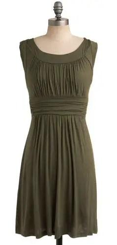 short-olive-bridesmaid-dress