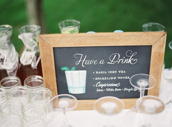 7 Clever Wedding Drink Accessories (sign: paper tangent, photo: anne robert photography)