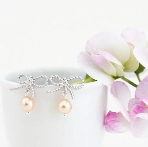 silver pearl earrings bows