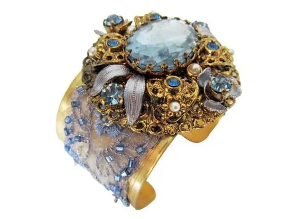 something blue crystal bridal cuff bracelets