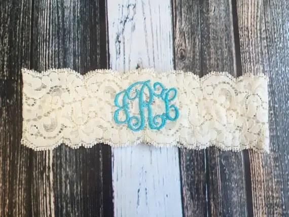 something blue monogrammed garter