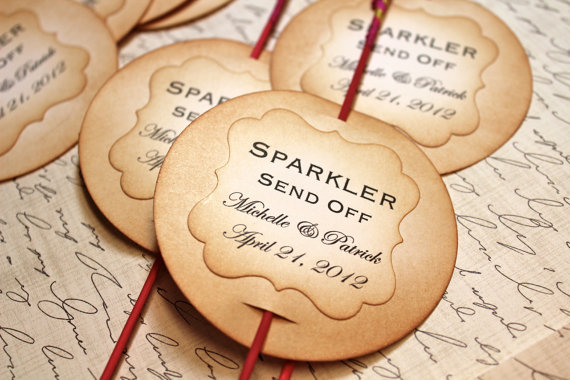 7 Wedding Sparkler Mistakes to Avoid via EmmalineBride.com - sparkler send off tags (by mother and daughter creations)