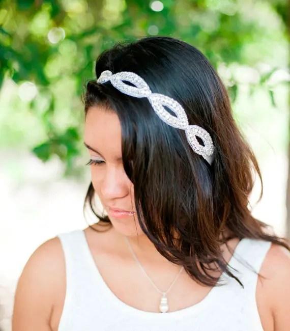 sparkly hair wrap accessory worn as a headband