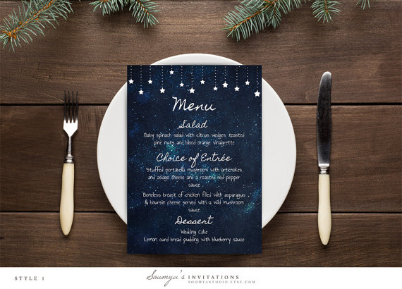 starry night wedding menu by soumyasinvitations | via Starry Night Weddings http://emmalinebride.com/vintage/starry-night-weddings-ideas/