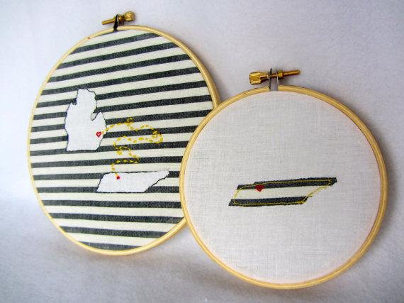 state themed wedding embroidery hoop