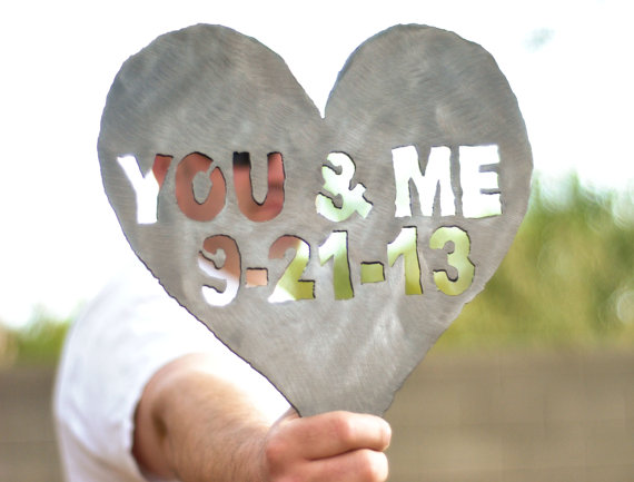 steel you and me heart shaped metal decoration via 27 Amazing Anniversary Gifts by Year http://emmalinebride.com/gifts/anniversary-gifts-by-year/