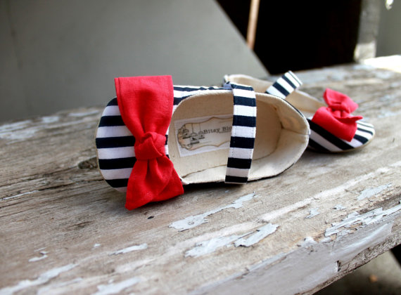 striped shoes with red bow (for flower girl)