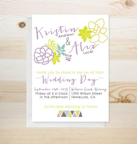 succulent wedding invitations (by yes, dear studio)