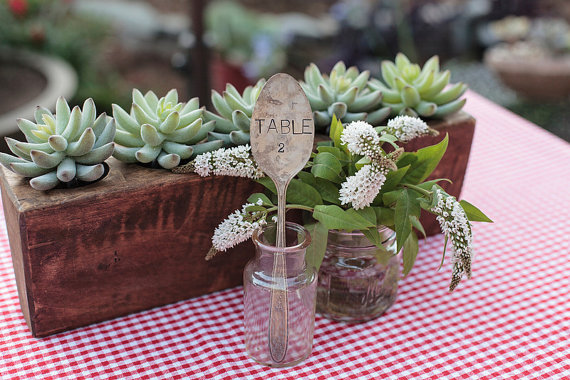 vintage wedding silverware table marker