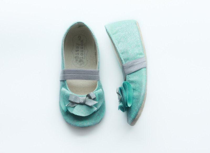 teal flower girl shoes