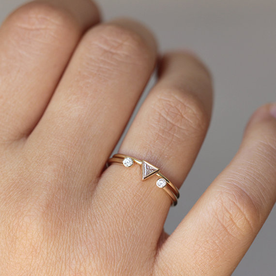 trillion wedding set | handmade wedding bands | http://emmalinebride.com/jewelry/handmade-wedding-bands/