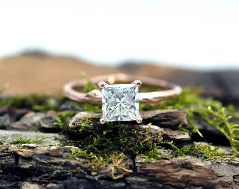 Twig Princess Cut Moissanite Ring