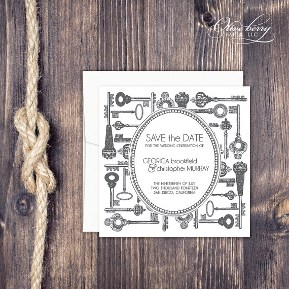 vintage keys save the date - paper goods wedding