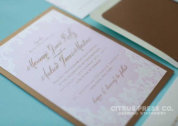 return address on wedding invitations etiquette - vintage lace invitation (by citrus press)