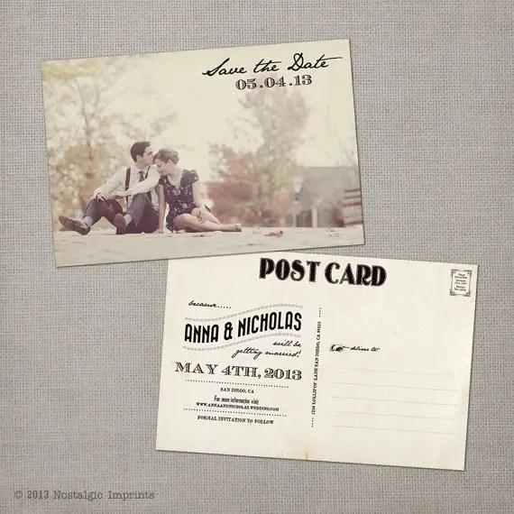 vintage postcard save the date card