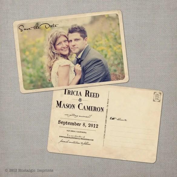 vintage save the date postcard nostalgic imprints