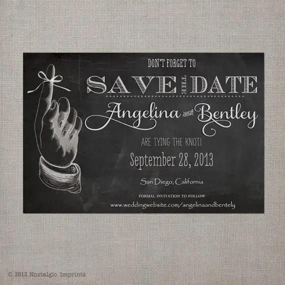 vintage save the date postcards - chalkboard