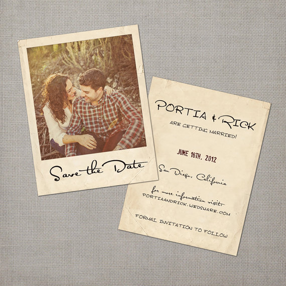 vintage save the date postcards - polaroid