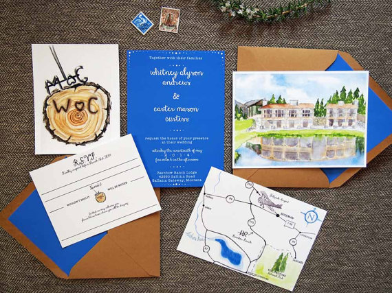 watercolor wedding invitations ranch design