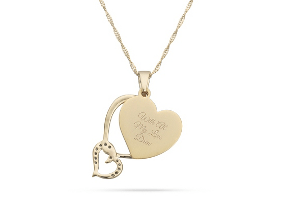 wedding day gifts for mom - double heart necklace