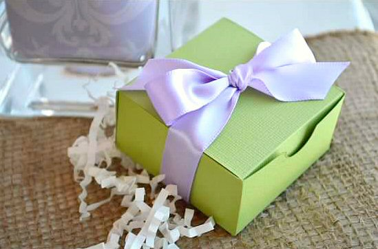 wedding favor boxes - lime green box with white ribbon (by sosia to go)