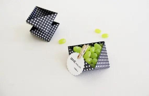 wedding favor containers - hexagon box polka dots