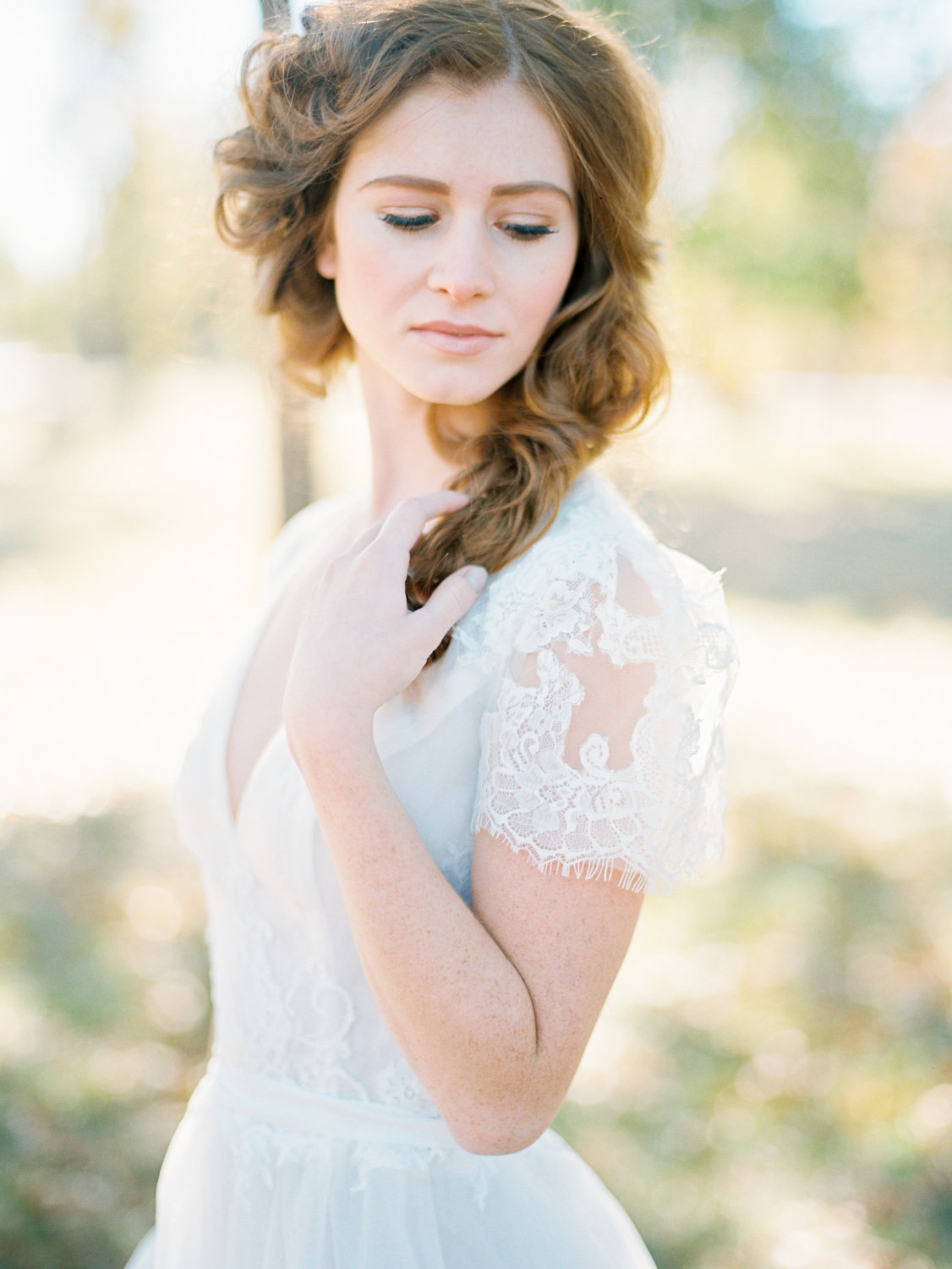 wedding gown with short lace sleeves