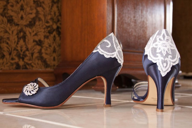 wedding heels with brooch and lace embellishment on back by Becca & Louise