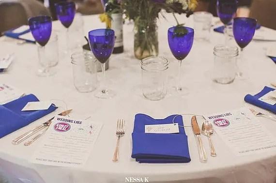wedding mad libs on tables