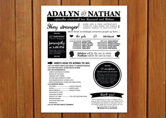 wedding program ideas - poster style