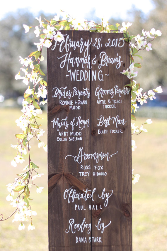 wedding program sign by the paper walrus | ceremony accessories weddings https://emmalinebride.com/ceremony/ceremony-accessories-weddings/
