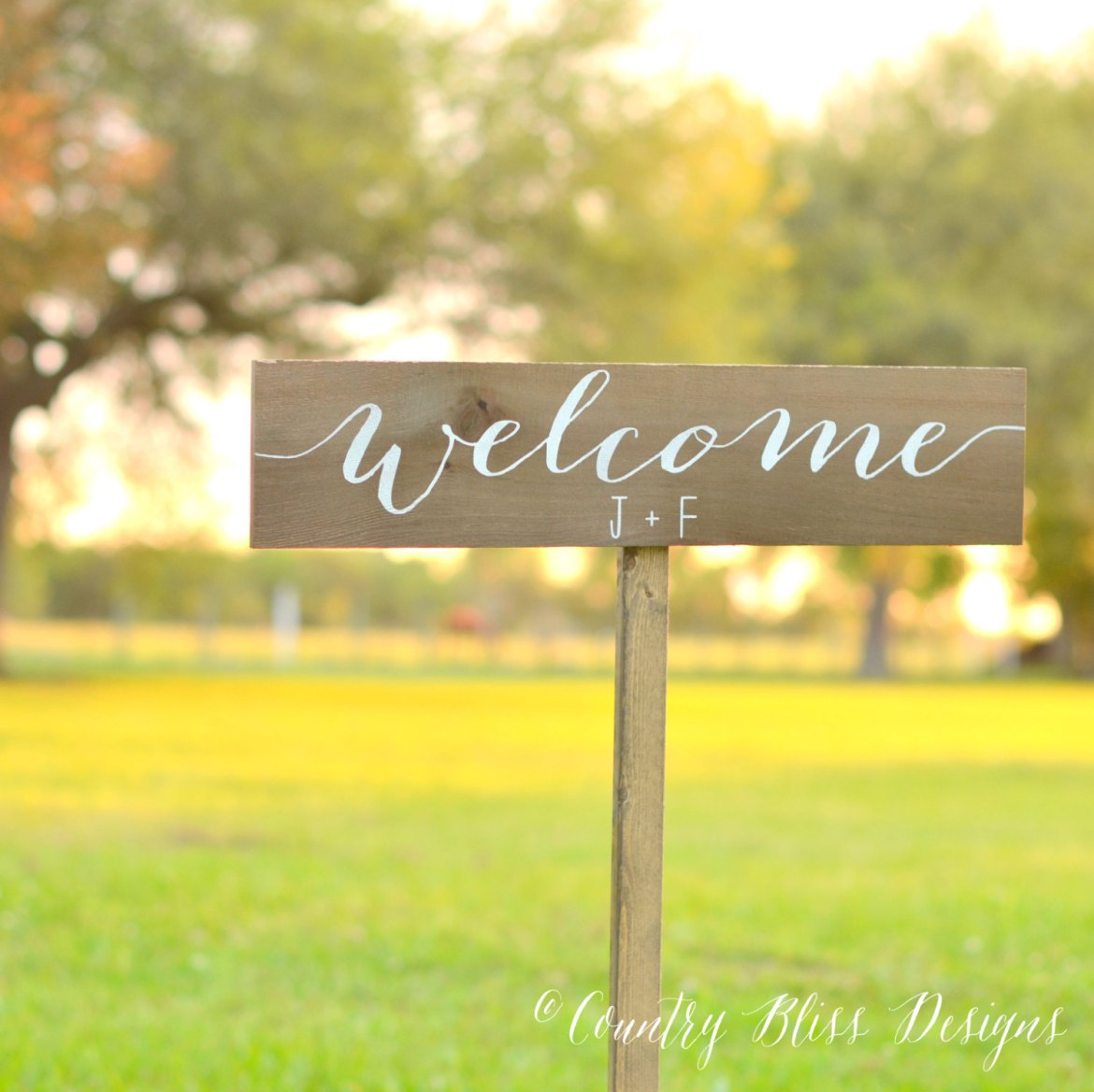 welcome initials sign for wedding by country bliss designs