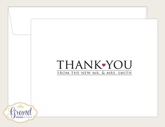 when to send thank you cards - personalized for bride and groom