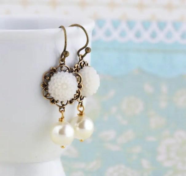 white flower pearl drop earrings