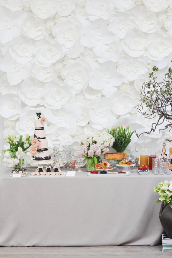 white flower wall backdrop wedding reception