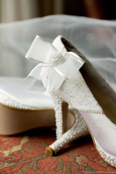 white bridal heels with bow jeweled wedding shoes