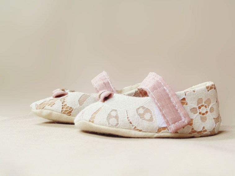 white lace flower girl shoes with pink strap