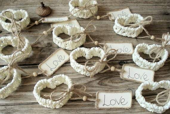 white paper heart place card holders