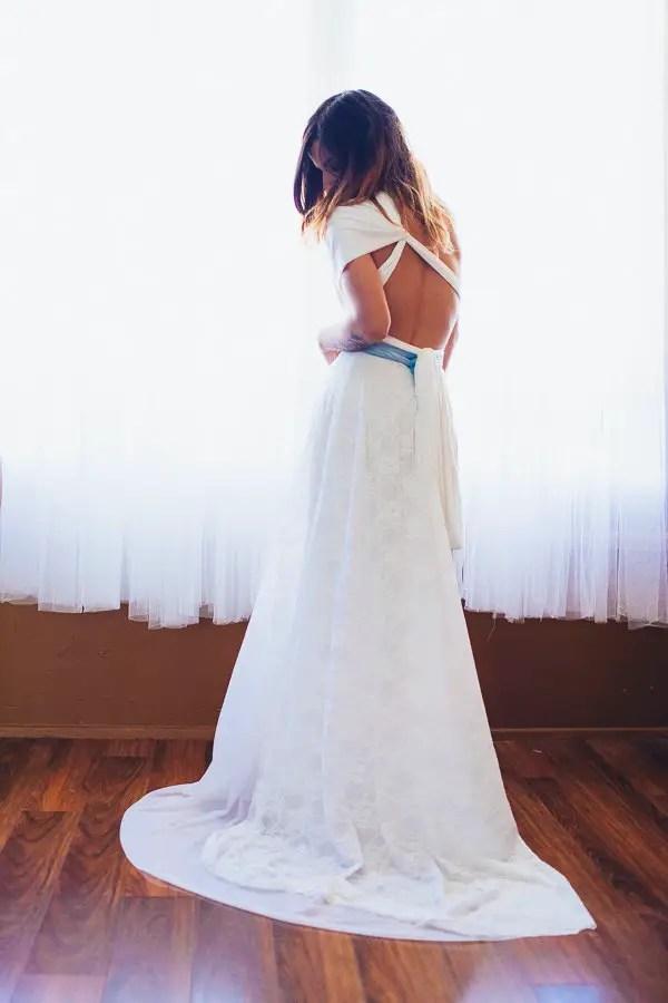 white wedding dress with something blue