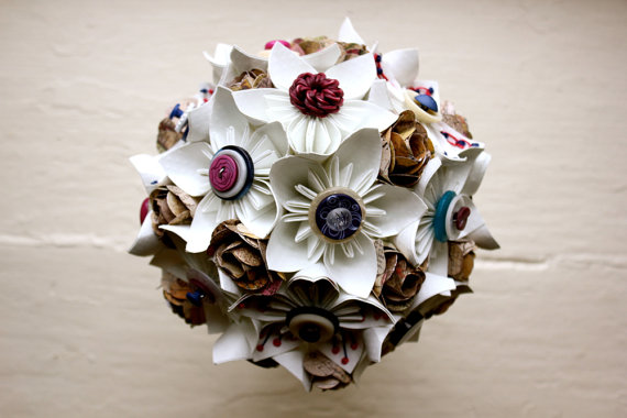 white wedding flower bouquet made of paper