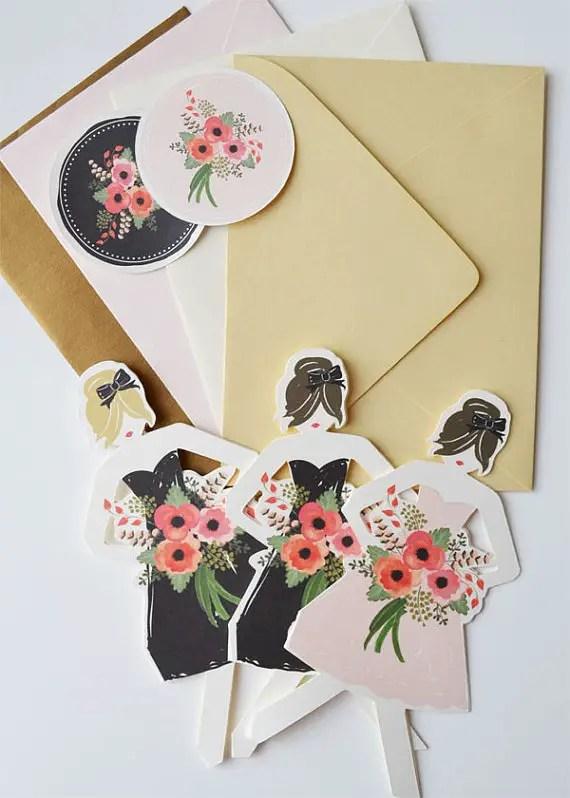 Be My Bridesmaid Cards (by The First Snow via EmmalineBride.com) #handmade #wedding