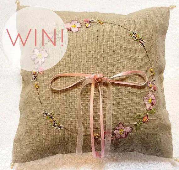 win a burlap ring pillow